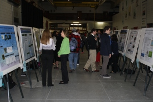 Some of the 60+ student projects on display at the University of Detroit Mercy Friday.