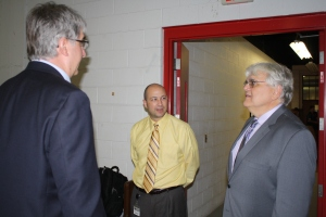 At right is Gary Kulek, dean of the College of Engineering and Science.