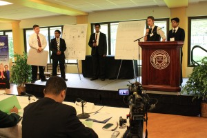 "Members of the winning team from Hamtramck High School, ""Energy Is Everything,"" during their presentation"