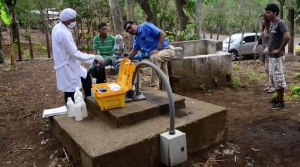 Engineers Without Borders testing groundwater in Laguna de Apoyo, Nicaragua.