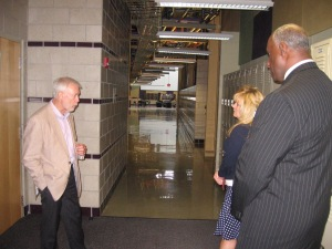 Heather Lilley and Robert Magee tour Ferris State University's Granger Center for HVACR with Larry Schult, dean of Ferris State's College of Engineering Technology