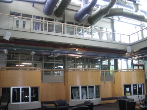 The HVAC systems at the Granger Center are purposely kept open to view as part of the center's educational mission on the technologies involved.