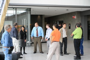 The tour begins in the lobby atrium of the Oakland University Engineering Center.