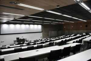 A 200-seat lecture hall, largest in the building.