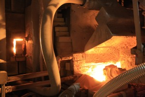 Here, glass raw materials are poured into the tin bath at their highest temperature, ,2900 degrees.