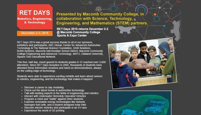 Macomb CC Sets 'RET Days' For Grades 6-12