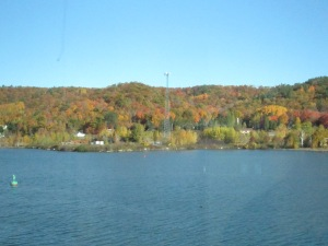 This is the view from Michigan Tech's Great Lakes Research Center across the Portage Waterway to the northern part of Houghton County and Keweenaw County.