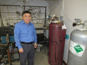 MTU professor Yun Hang Hu in his laboratory, where advanced materials to make solar panels and other energy technologies more efficient are made.