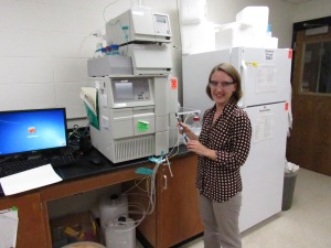MTU Professor Caryn Heldt in her lab, where advanced vaccine purification techniques are being studied.