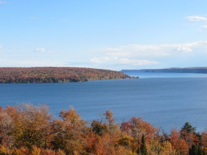 Views on Thursday, Oct. 15 from a scenic overlook along M-28 near Munising. The view is north, toward Grand Island. Pictured Rocks National Lakeshore begins on the horizon at right.
