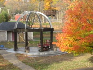 The partially completed gazebo in Big Rapids' Mitchell Creek Park.