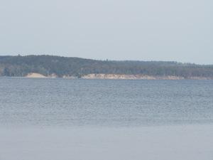 Sand bluffs on Croton Dam Pond.