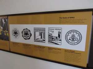 Historic displays line Heritage Hall's corridors. This one shows all the seals that have been used by WMU since its 1903 founding.