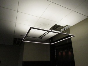 These unique LED lighting fixtures are used in office spaces throughout Heritage Hall.
