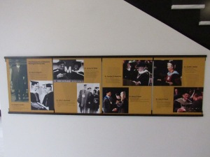 This display depicts the seven presidents of WMU since its 1903 founding.