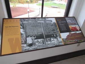 This display depicts WMU's rapid growth after World War II.