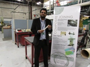 Mahmoodul Haq with his corner of the lab at the Composite Vehicle Research Center