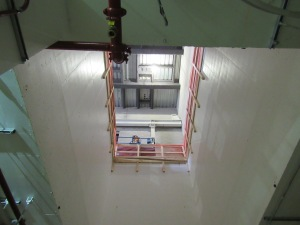 A look up from the acceleration chamber where the ion beam will be fed into the FRIB.