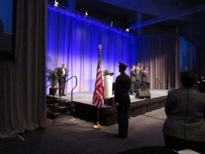 The Michigan State Police Color Guard presented the colors, while the singing group Men Of Grace gave a stirring rendition of the National Anthem, to open the North American International Cyber Summit Monday.