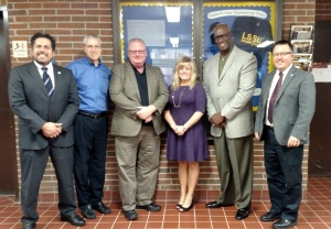 ESD and Lake Superior State officials pose for a photo after their meeting Tuesday. From left to right are Thomas Pleger, President; Morrie Walworth, Provost and Vice President for Academic Affairs; Matt Roush, ESD Director of Communications; Heather Lilley, ESD Director of Membership; Robert Magee, ESD Executive Director; and David Roland Finley, Academic Dean--Business, Engineering