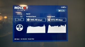 The numbers don't lie -- a live speed test of Rocket Fiber's 1-gigabit-per-second connection.