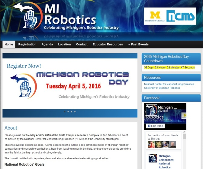 2016 Michigan Robotics Day Coming To Ann Arbor