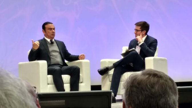 Ghosn sees no Trump trade trouble, links CES to NAIAS